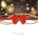 Magic christmas background. With golden balls and red ribbon Stock Photo