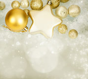 Magic Christmas background with golden Christmas decoaration Stock Images