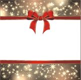 Magic christmas background. With golden stars and red ribbon Royalty Free Stock Photography