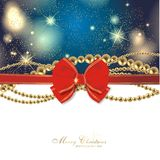Magic christmas background. With golden stars and red ribbon Stock Photo