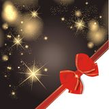 Magic christmas background. With golden stars and red ribbon Royalty Free Stock Photo