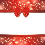 Magic christmas background. With golden stars and red ribbon Royalty Free Stock Image