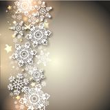 Magic christmas background. With golden stars and red ribbon Stock Image