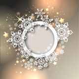 Magic christmas background. With golden stars and snowflakes Royalty Free Stock Photos