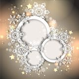 Magic christmas background. With golden stars and snowflakes Royalty Free Stock Image