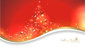 Magic christmas background. Magical christmas card in red Stock Images