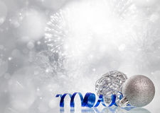 Magic Christmas background with silver Christmas decoaration Stock Photos