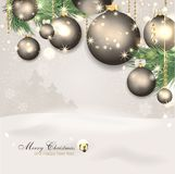 Magic christmas background. With snow and christmas balls Royalty Free Stock Photography