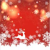 Magic christmas background. With snow flakes and reindeer Royalty Free Stock Images
