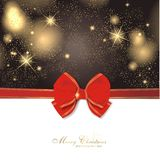 Magic christmas background. With stars and red ribbon Stock Images