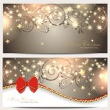 Magic christmas backgrounds. Magic christmas background with ribbon and ornament Stock Photography