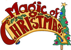 Magic Of Christmas Banner. Banner Christmas, tree, holly, Magic of Christmas Stock Images