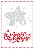 Magic Christmas calligraphy vector lettering text. xmas scandinavian greeting card with Hand drawn illustration star vector illustration