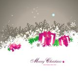 Magic christmas card. Magical christmas card with pink presents Royalty Free Stock Photo