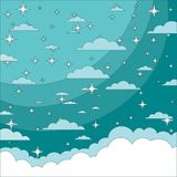Magic Christmas Cloud. Shining Stars. Night sky abstract background. stock illustration