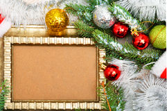 Magic christmas decoration with frame, pine twigs, christmas bau Royalty Free Stock Photo