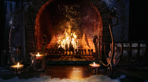 Magic Christmas fireplace. Magical background