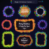 Magic Christmas Frames Set. Set of colorful glowing magic Christmas lights frames for celebratory design. Used vector pattern brushes included stock illustration