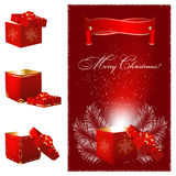 Magic Christmas gift box. vector illustration