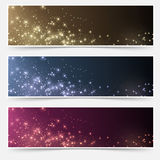Magic Christmas header footer flyer collection Stock Photo