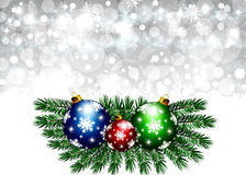 Christmas winter background. Christmas illustration with colorful multi-colored balls and branches of Christmas tree..Christmas Greeting Card 2015.Bright winter Royalty Free Stock Photo