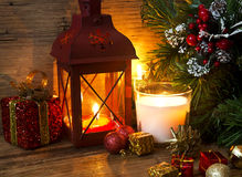Magic Christmas Lantern with Candles and Decorations Royalty Free Stock Photography