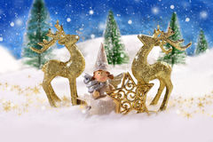 Magic christmas night with angel and golden reindeers Stock Images