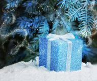 The magic of Christmas night gift in the snow Royalty Free Stock Photography