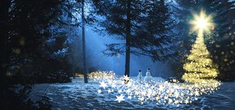 Magic christmas scene in the woods with two snowmen royalty free stock photos