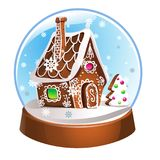 Magic Christmas snow globe  illustration. Glass snowglobe gift with small house, winter pine tree and falling snow inside Royalty Free Stock Photos
