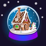 Magic Christmas snow globe  illustration. Glass snowglobe gift with small house, winter pine tree and falling snow inside Stock Photos