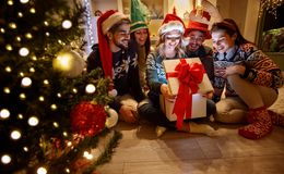 Magic Christmas - surprise in box for young friends Royalty Free Stock Photo