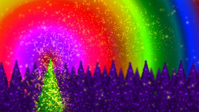 Magic christmas tree. With rainbow Royalty Free Stock Photography