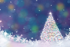 Magic Christmas tree background illustration with colorful bokeh Royalty Free Stock Photography