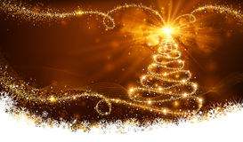 Magic Christmas Tree. Christmas golden background with a magic tree of bright lights and snowflakes