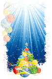 Magic Christmas tree and vertical blue stripes Royalty Free Stock Images
