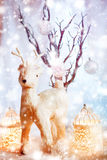 Magic Christmas Vintage Decorations with Deer Royalty Free Stock Photos
