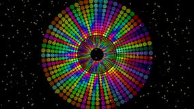 Magic circle composed from rainbow dots, vivid colors on black background with small yellow lights. discotheque element. Animation, 4k video stock video footage