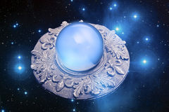Magic circle. A magic circle with a crystal ball and stars like a concept for magical ritual Royalty Free Stock Images