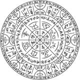 Magic circle with mystic symbols Royalty Free Stock Photos
