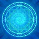 Magic circle, Sacred geometry, glowing neon lines. Glowing magic circle. Sacred geometry, vector illustration. Glowing neon lines. Abstract geometric background stock illustration
