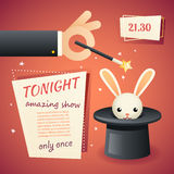 Magic circus show hand holding wand poster template stylish background retro cartoon design vector illustration Stock Photography