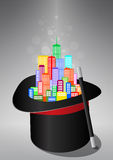 Magic city. Illustration of city inside a magician hat Royalty Free Stock Photo