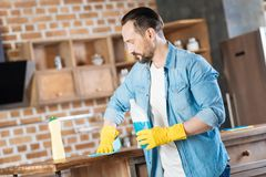 Focused male cleaner rubbing up surface royalty free stock photo