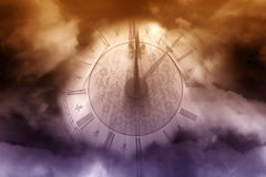 Magic clock. Vintage clock over dark clouds fantasy background Stock Images