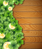 Magic clover on wooden background Royalty Free Stock Photography