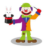 Magic clown vector. Illustration of a nice clow making a magic performance isolated on white. Vector Royalty Free Stock Photo