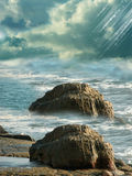 Magic coast. In stormy day Royalty Free Stock Photos