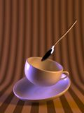 Magic coffee cup. A floating cup of coffee with spoon and saucer upon a striped wallpaper background Royalty Free Stock Photo