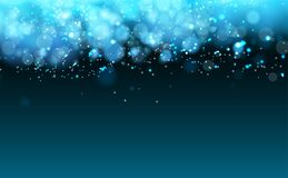 Magic Cold Lights on Blue Background Bokeh effect. Vector EPS 10 Royalty Free Stock Images